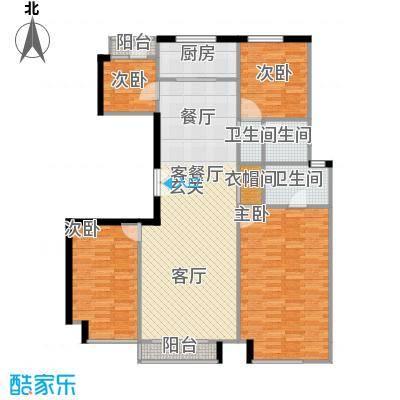 中国铁建・花语城139.00㎡3-F户型三室两厅两卫+功能房户型3室2厅2卫
