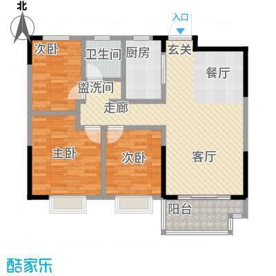 伟星玲珑湾88.00㎡D3户型3室2厅1卫户型LL