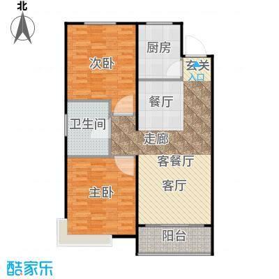 鲁能海蓝金岸86.75㎡E2户型 两室两厅一卫户型2室2厅1卫