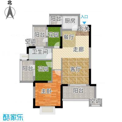 常绿林溪谷88.27㎡三房二厅一卫户型3室2厅1卫