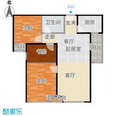 珠江东都国际89.00㎡A2户型 三室两厅一卫户型3室2厅1卫