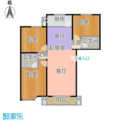 绣江南111.44㎡D2户型三室两厅两卫户型