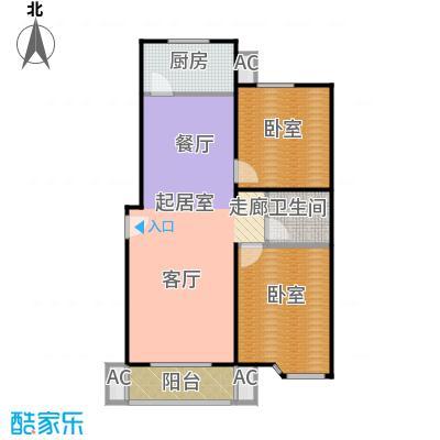 绣江南91.22㎡C户型两室两厅一卫户型