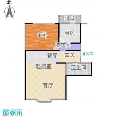 翠福园(翠福星城)66.52㎡二期e一室两厅一卫户型