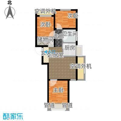 东亚・印象台湖76.08㎡H反户型 三室一厅一卫户型3室1厅1卫