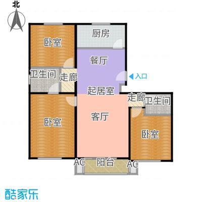 绣江南124.34㎡F户型三室两厅两卫户型