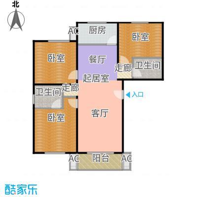 绣江南110.22㎡D1户型三室两厅两卫户型