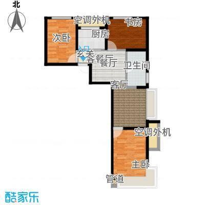 东亚・印象台湖77.64㎡A反户型 三室二厅一卫户型3室2厅1卫