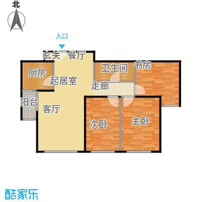 珠江东都国际87.00㎡B户型 三室两厅一卫户型3室2厅1卫