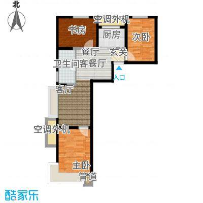 东亚・印象台湖77.64㎡A户型 三室二厅一卫户型3室2厅1卫