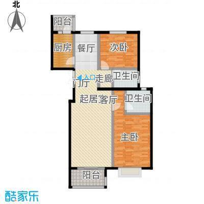 上林溪南区107.00㎡B2户型 两室两厅两卫户型2室2厅1卫