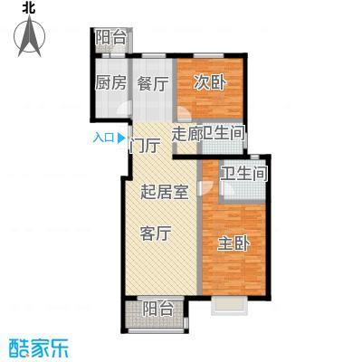 上林溪南区107.00㎡B2户型 两室两厅两卫户型2室2厅2卫
