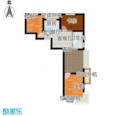 东亚・印象台湖77.09㎡A\\\'反户型 三室二厅一卫户型3室2厅1卫
