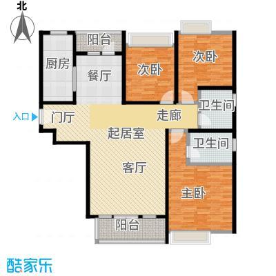 合生・滨江帝景137.00㎡二期E户型 三室两厅两卫户型3室2厅2卫