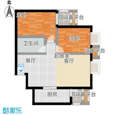 金唐国际公寓89.65㎡04户型二室二厅一卫户型