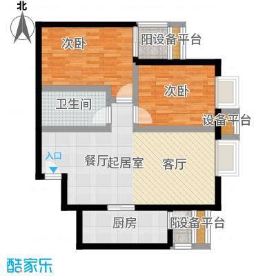 金唐国际公寓89.63㎡04户型二居室户型