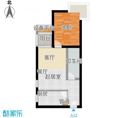 金唐国际公寓60.48㎡01户型一室二厅一卫户型