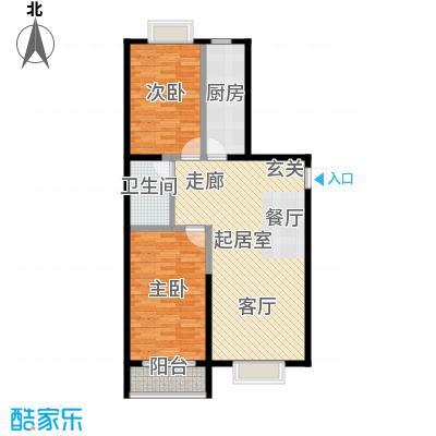 颐和家园104.72㎡A座E`户型二室二厅一卫户型