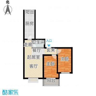 颐和家园84.69㎡A座G户型二室二厅一卫户型