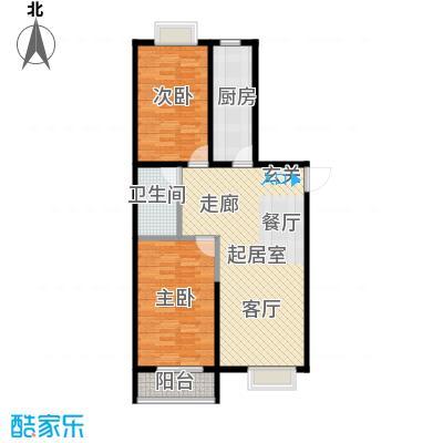 颐和家园99.13㎡A座J户型二室二厅一卫户型