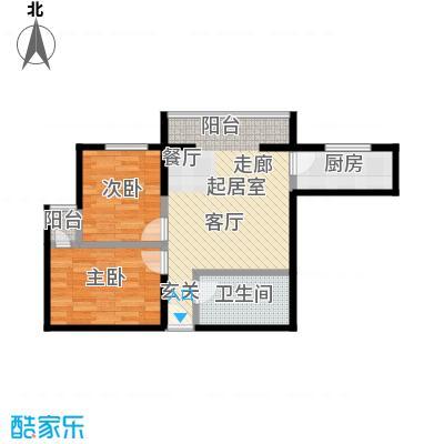 颐和家园78.10㎡A座D户型二室二厅一卫户型