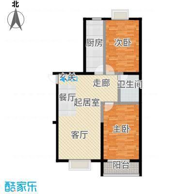 颐和家园100.48㎡A座E户型二室二厅一卫户型