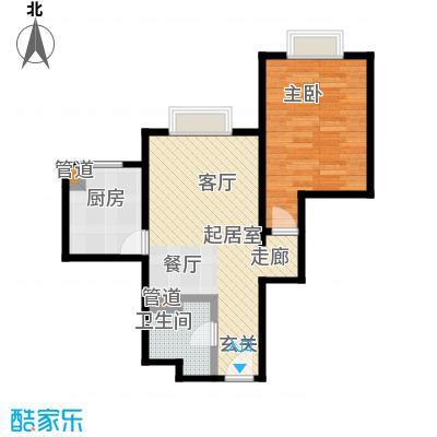 时代紫芳(竹园)68.00㎡E2户型一室二厅一卫户型