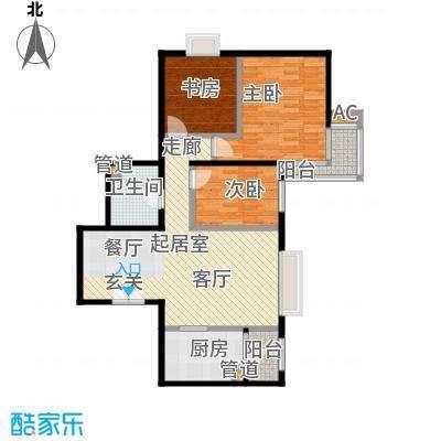 时代紫芳(竹园)118.00㎡D2户型三室二厅一卫户型