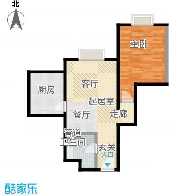 时代紫芳(竹园)68.00㎡E2一室两厅一卫户型