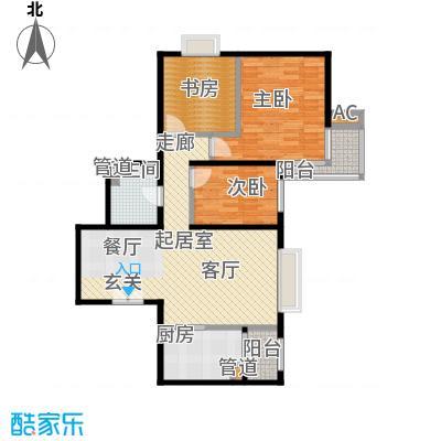 时代紫芳(竹园)118.00㎡D2三室两厅一卫户型