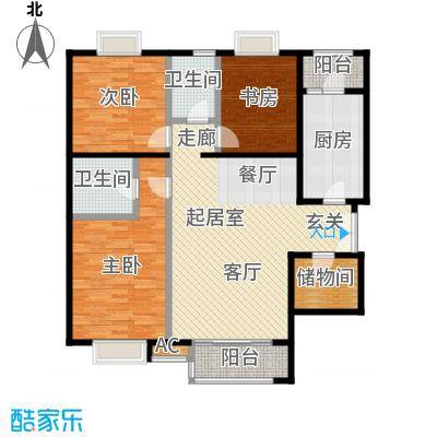 时代紫芳(竹园)154.00㎡A2三室两厅两卫户型