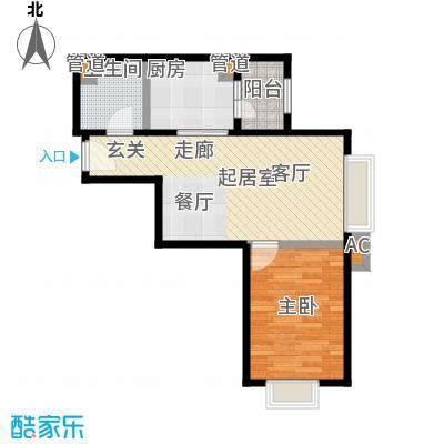 时代紫芳(竹园)67.00㎡D1一室两厅一卫户型