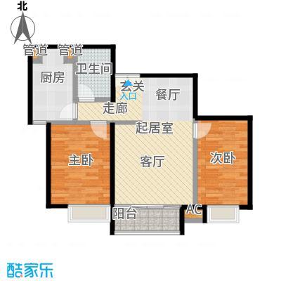 时代紫芳(竹园)89.00㎡C1两室两厅一卫户型