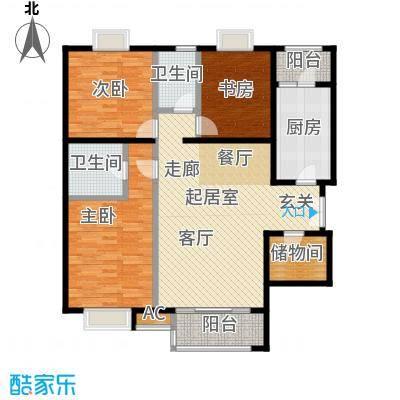 时代紫芳(竹园)152.00㎡A1三室两厅两卫户型