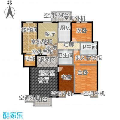 建邦华府166.00㎡三室二厅二卫户型