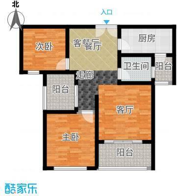 淮阳建业桂园85.00㎡淮阳建业桂园D2户型85平户型2室2厅1卫