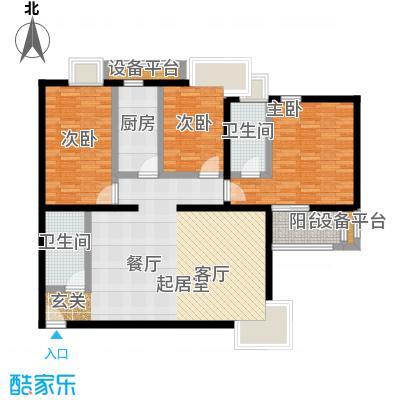 金唐国际公寓129.62㎡02户型三居室户型