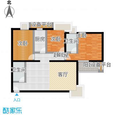 金唐国际公寓129.71㎡02户型三室二厅二卫户型