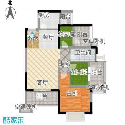 常绿林溪谷88.90㎡三房两厅一卫户型3室2厅1卫