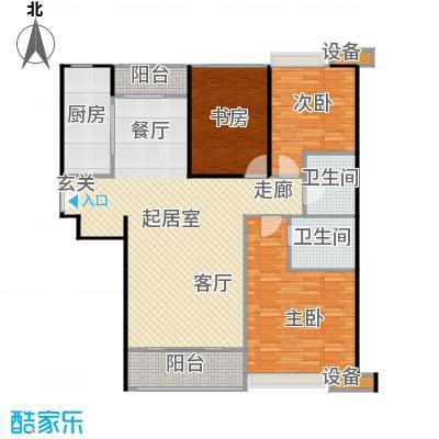 珠江东都国际139.00㎡C户型 三室两厅两卫户型3室2厅2卫