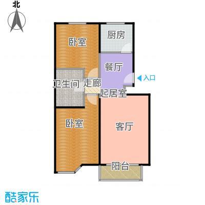 绣江南90.68㎡E2户型两室两厅一卫户型