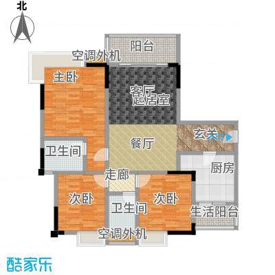渝能幸福山房102.92㎡三室两厅双卫 102.92平米户型