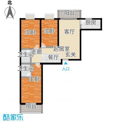 颐和家园127.50㎡A座A户型三室二厅二卫户型