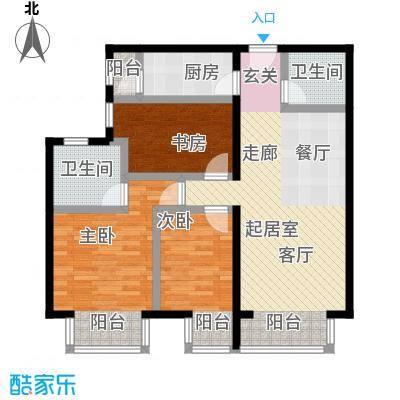 优品国际公寓115.47㎡一单元07户型三室两厅两卫户型