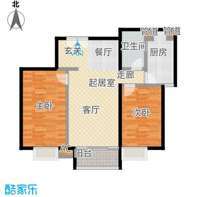 时代紫芳(竹园)102.00㎡B1两室两厅一卫户型