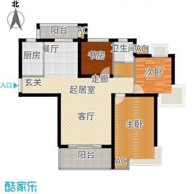 康城上品23#24# C户型 124㎡户型3室2厅2卫