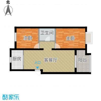 保利中央公馆龙湾城户型2室1厅1卫1厨
