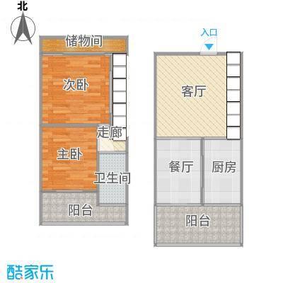 东方都会广场南向44方小复式(改两房)