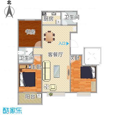 靓景名居三期E1户型3室2厅2卫