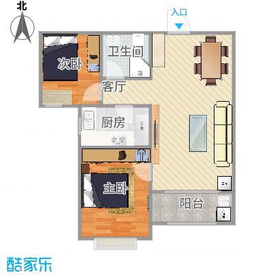 水榭花都2号楼B户型两室两厅